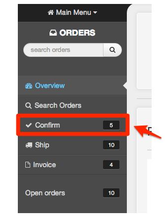 Confirm menu link