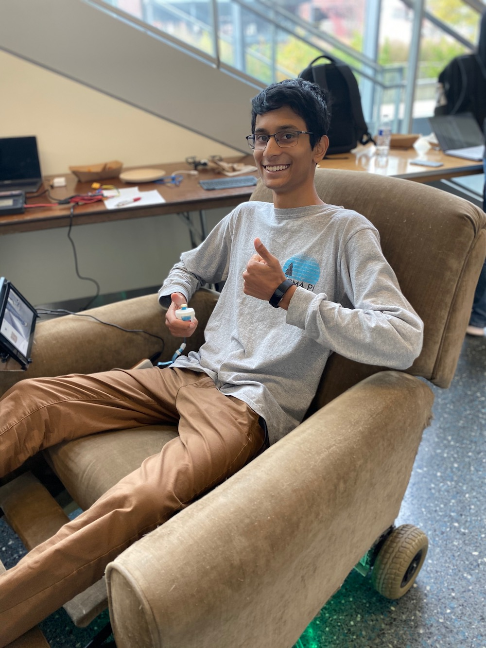 Amrit on the chair