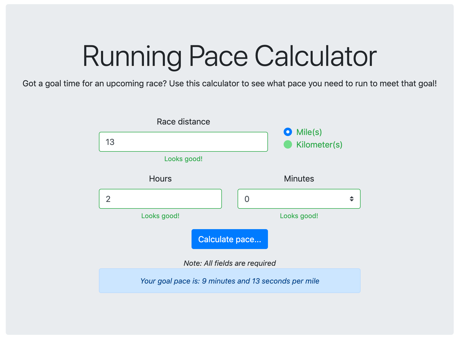 Running pace calculator example