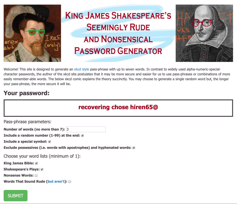 Shakespeare password example