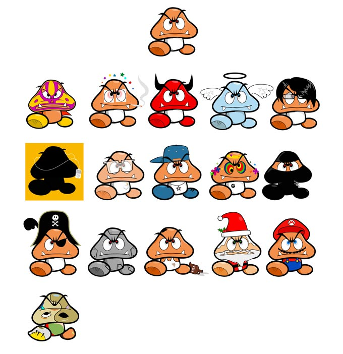 goomba characters illustration all