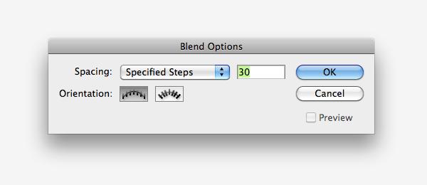 blend settings dialog