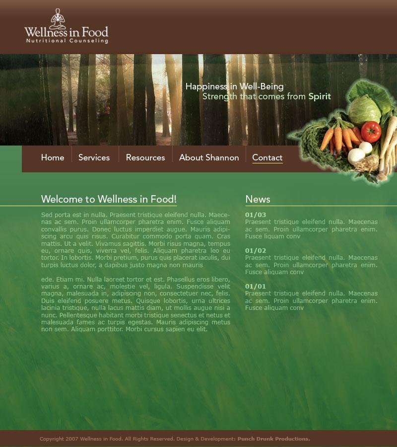 wellness in food website design