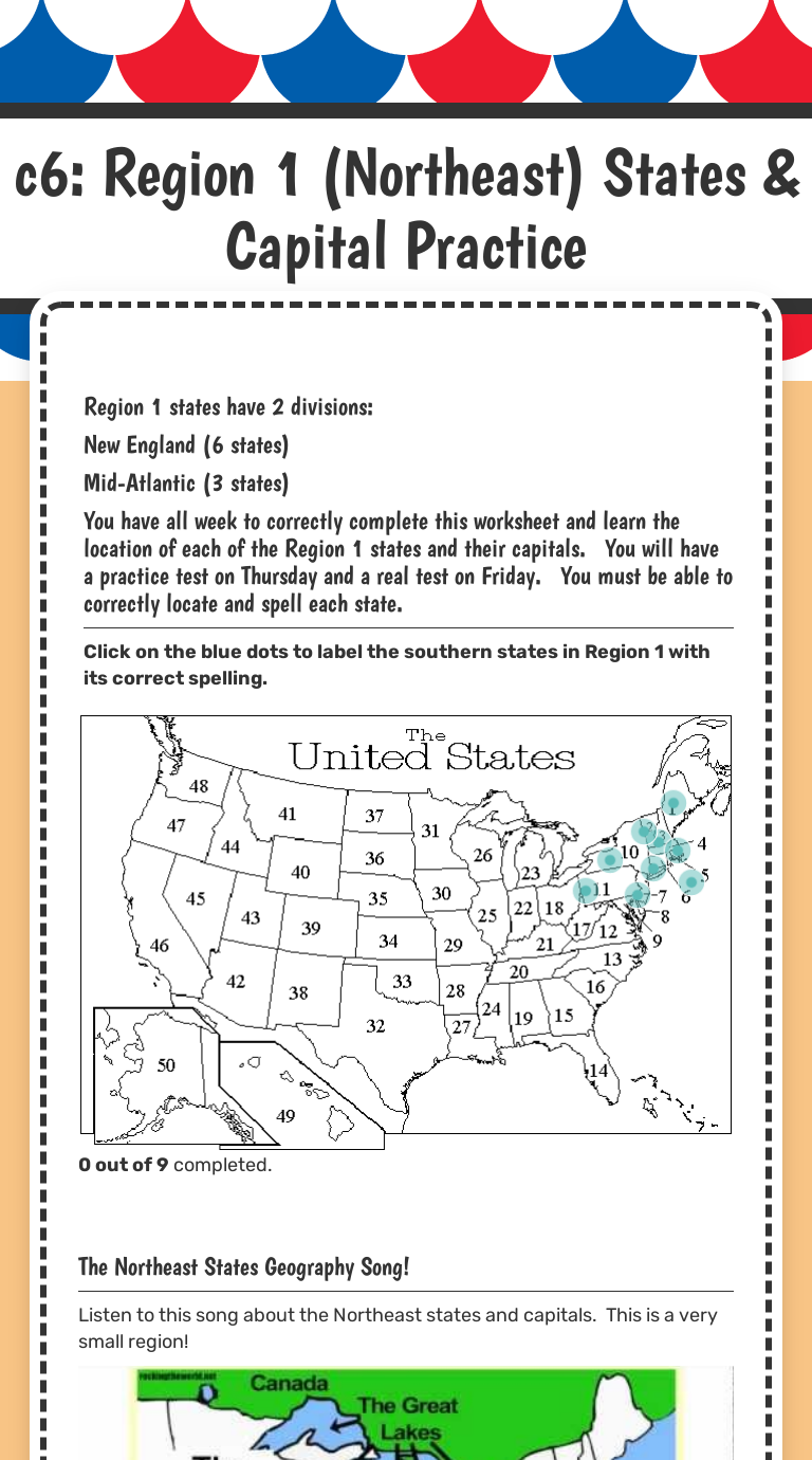 Worksheets States And Capitals Matching Worksheet worksheet preview by stephanie lamon blended worksheets wizer me