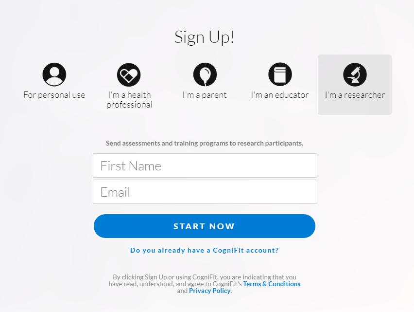 CogniFit- Sign up Image