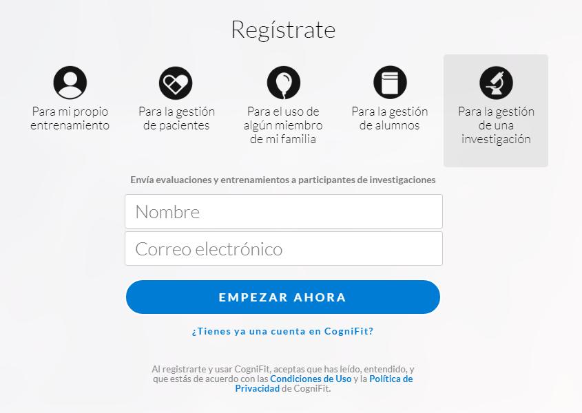 CogniFit - Imagen Registro
