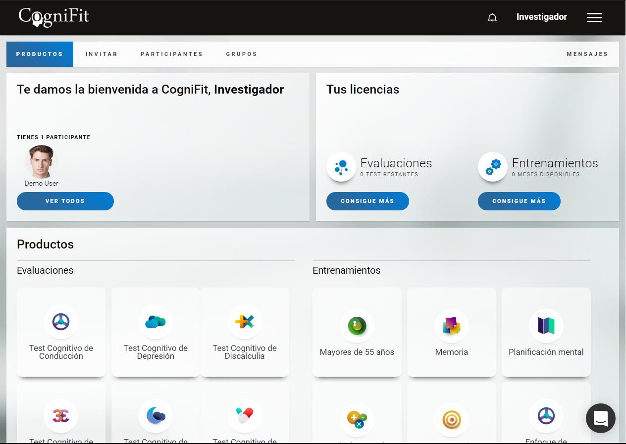 CogniFit - Imagen Pantalla inicio