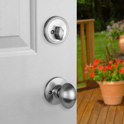 Front Door Entry Set Lock Satin Nickel With Egg Knob
