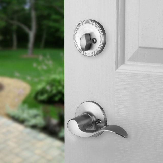 Front Door Entry Set Lock Satin Nickel Lever LH EBay