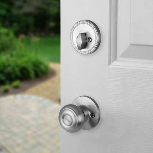 Satin Nickel Front Door Entry Lock With Sierra Knob Ebay
