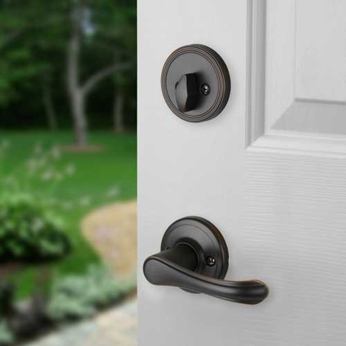 Front door entry set lock oil rubbed bronze lever vail ebay - Interior door levers oil rubbed bronze ...