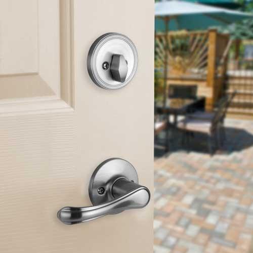 Front Door Entry Set Lock Satin Nickel Lever Vail Ebay