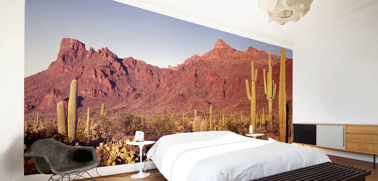 A bedroom room featuring a photographic landscape mural from DesignYourWall.