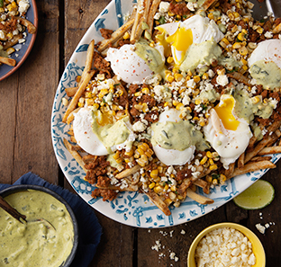 Mexican Street Corn (Elote) Fries with Poached Eggs and Roasted Poblano Hollandaise