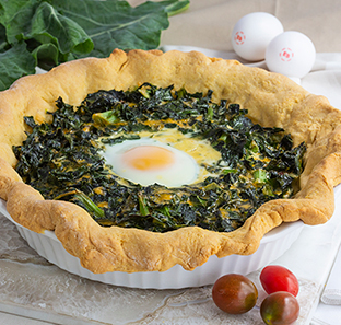 Collards & Tomato Pie in Cornbread Crust