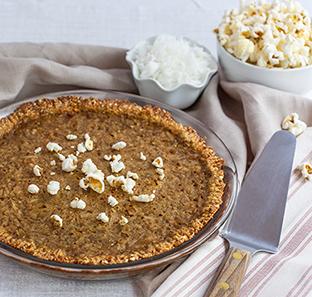 Coconut Sugar Cream Pudding Pie with Popcorn Cookie Crust