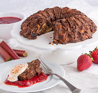 Chocolate Cayenne Pepper Bread Pudding with Strawberry Rhubarb Sauce and Spicy Whipped Cream