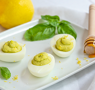 Lemon, Honey, and Fresh Basil Deviled Eggs