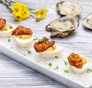 Sriracha Deviled Eggs with Fried Oysters