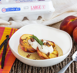 Grilled Colorado Peach Sundaes with Candied Pecans and Warm Vanilla Custard Sauce