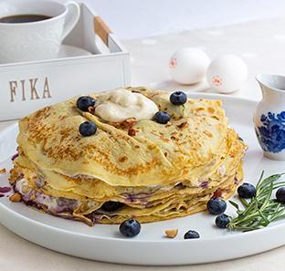 Swedish Pancake Stack Cake with Maple Smoked Almond Yogurt & Northwoods Blueberry Filling