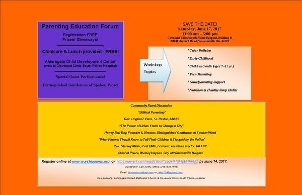 PARENTING EDUCATION FORUM | Aldersgate United Methodist Church
