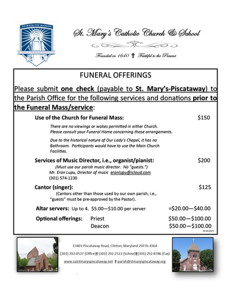 Funeral Planning | St  Mary's Catholic Church of Piscataway