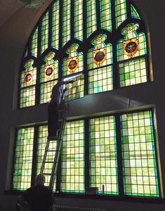 Stained glass restored to window medium