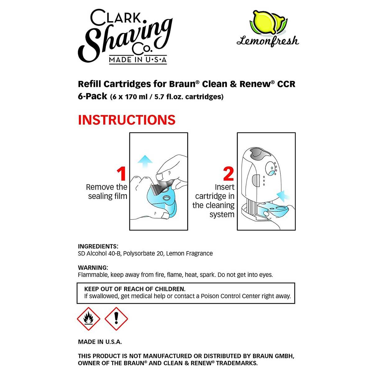 Clark Shaving Co. Refill Cartridges for Braun Clean & Renew CCR, 6-Pack