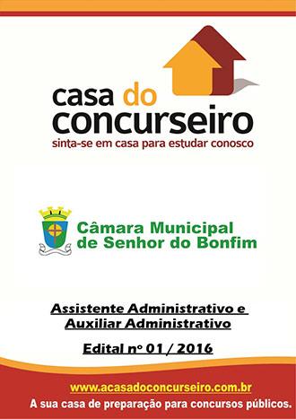 Apostila preparatória para concurso Câmara Municipal de Senhor do Bonfim-BA  Câmara Municipal de Senhor do Bonfim-BA - Edital nº 01/2016