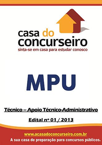 Apostila preparatória para concurso MPU - Técnico Administrativo Ministério Público Federal - Edital nº 01/2013