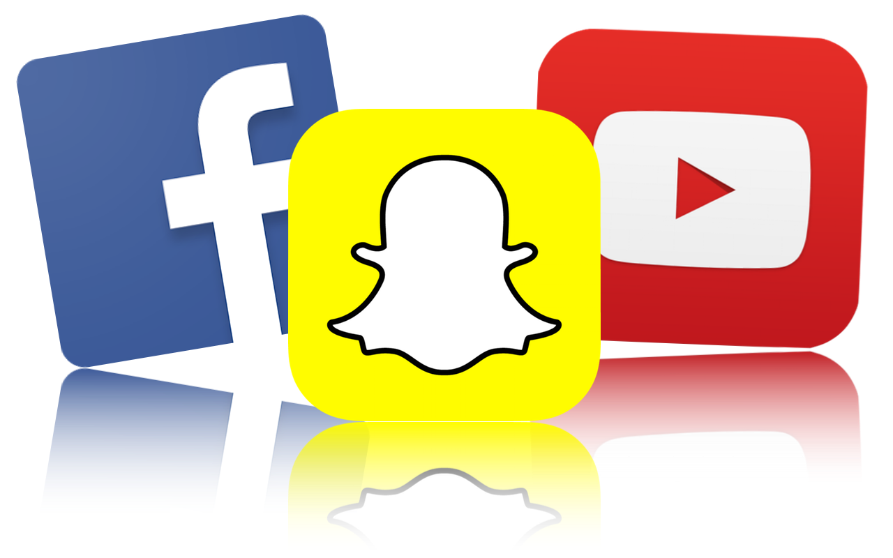 Social media platforms icon - facebook, snapchat, youtube