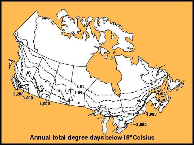 Heating Degree Days Canada Map Canada Degree Day Map