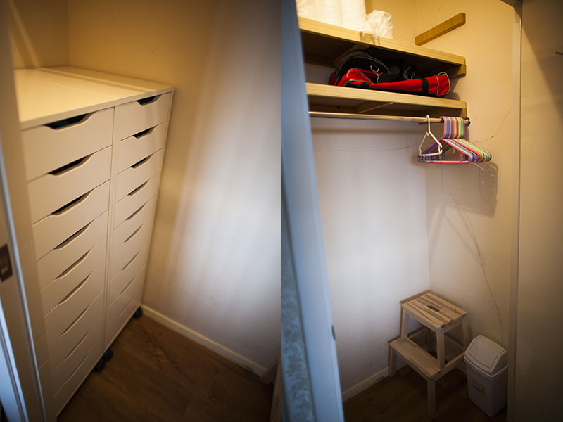 two-ikea-alex-9-drawer-units-chests-of-drawers-closet-dressers-bekvam-step-stool