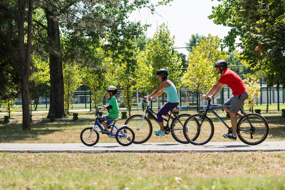 Family enjoying biking in the park