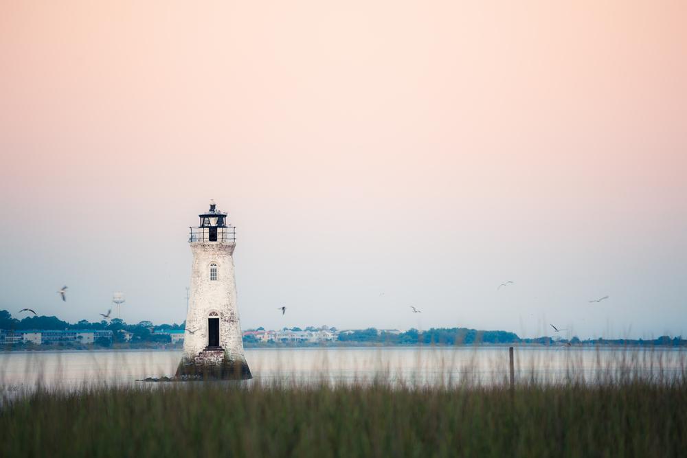Old lighthouse at the Cockspur island, Georgia, USA