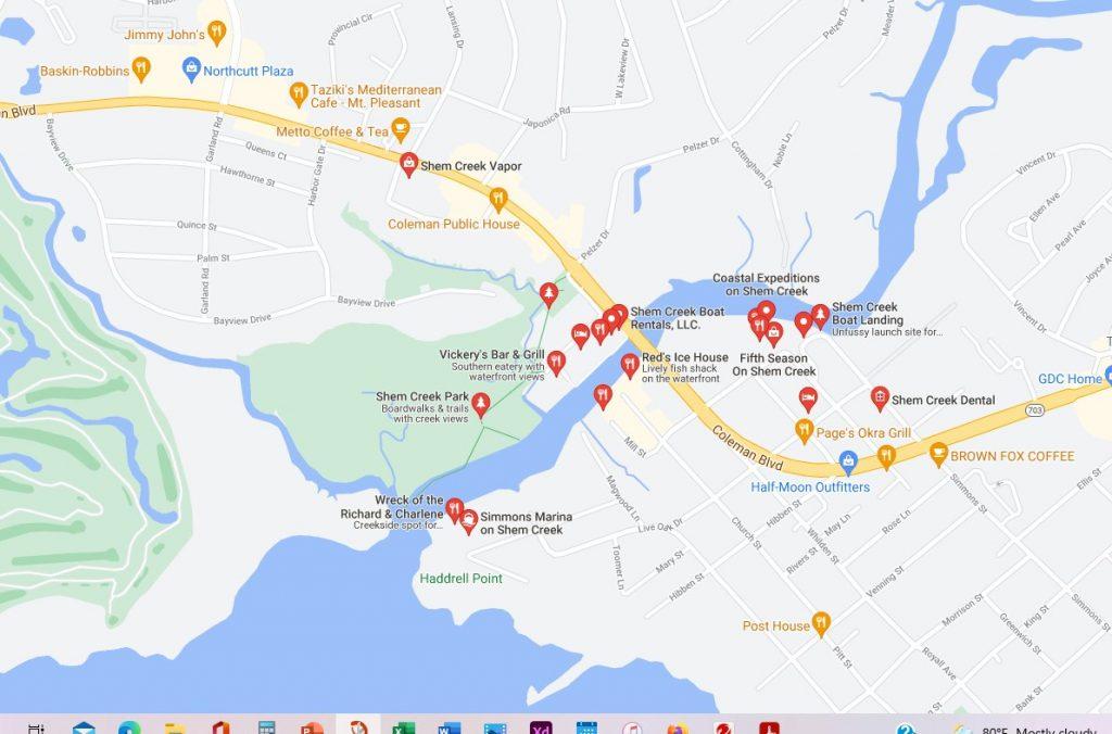 Map of Shem Creek