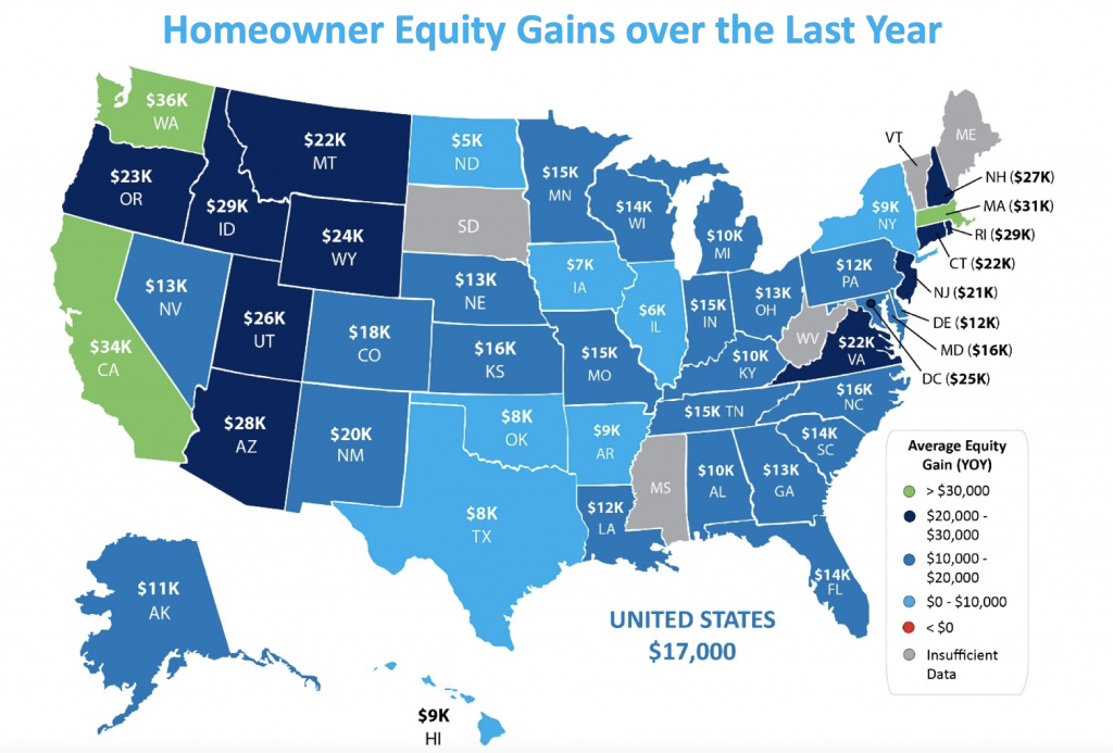 YoY gains in equity for each state