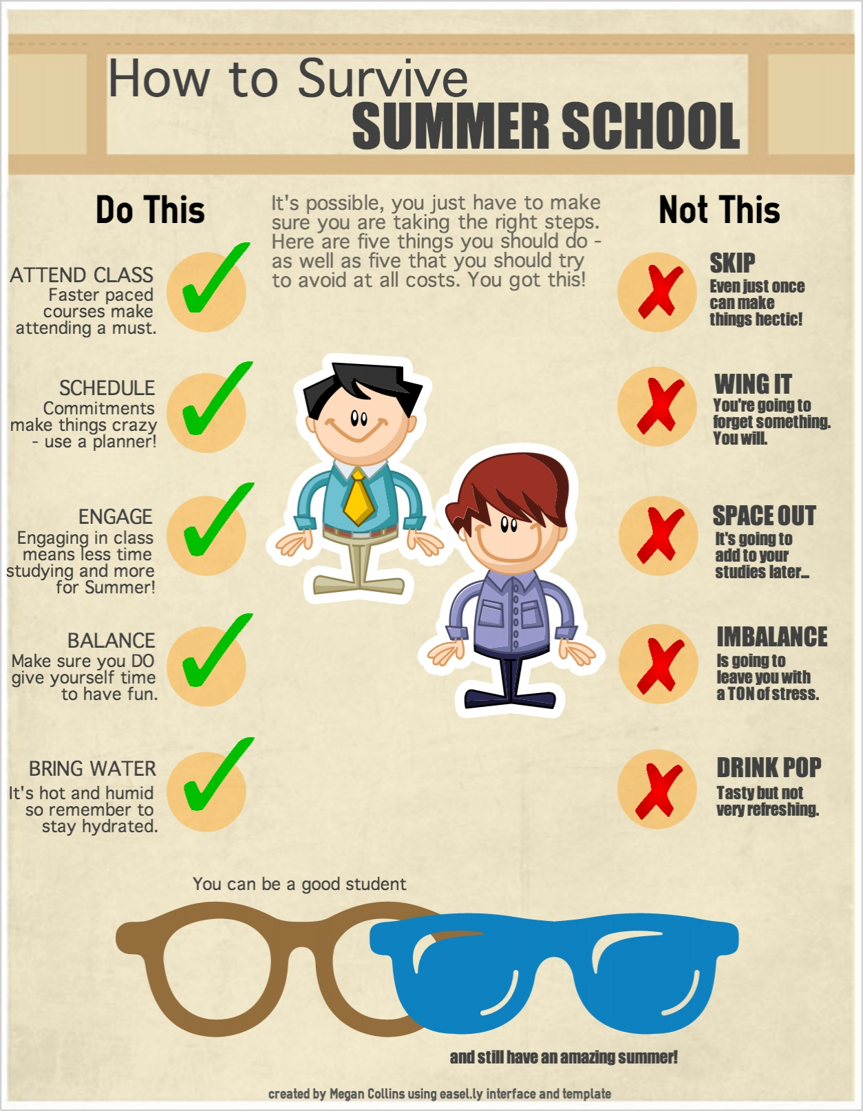 An infographic 'How to Survive Summer School'. Includes tips 'Attend Class', 'Schedule', 'Engage', 'Balance', & 'Bring Water'