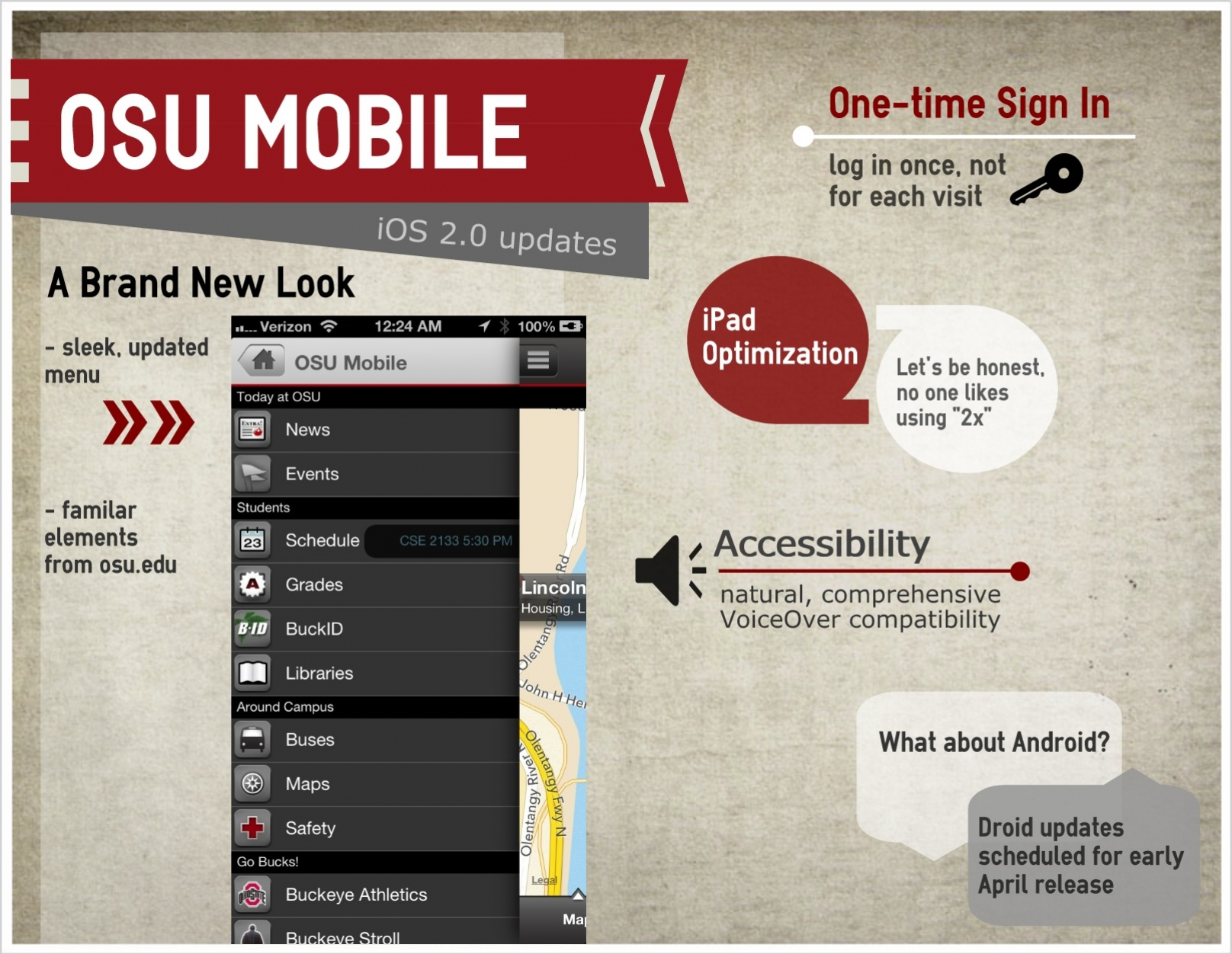 OSU Mobile features