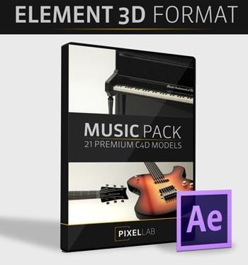 Pixel Lab 3D Music Pack - Element 3D Version