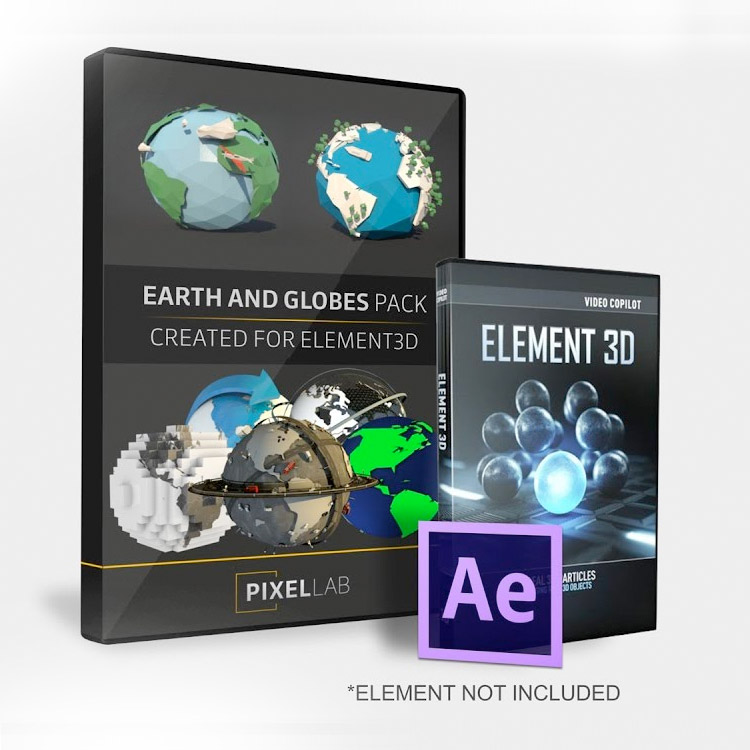 Pixel Lab Earth and Globes Pack for Element 3D