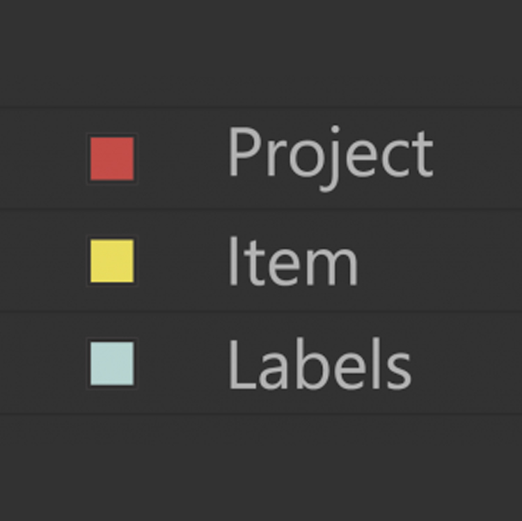 Project Item Labels