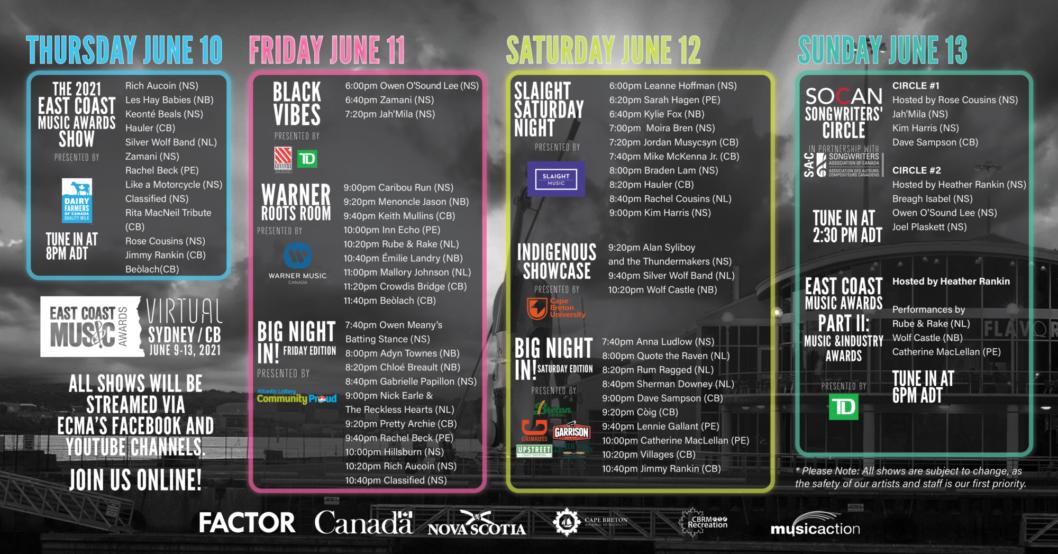 ECMA 2021 Festival Schedule & Artists!
