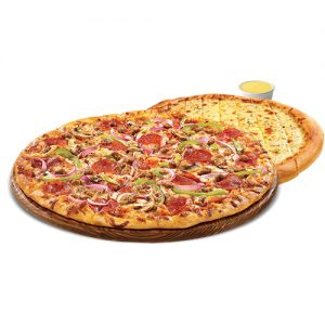 SP #4 - 12 inch Pizza 3 Toppings, 12inch Garlic Cheese Fingers, Lg Dipping Sauce