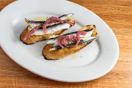 Crostini of White Anchovy from 107 State in Madison, WI