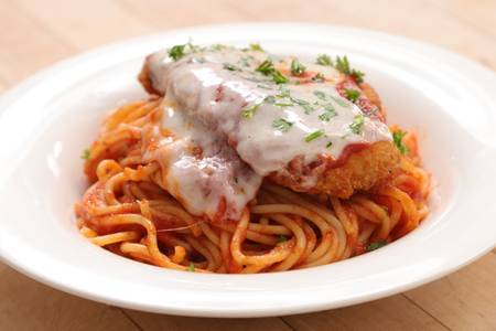 Chicken Parmigiana with Spaghetti from Ameci Pizza & Pasta - Irvine in Irvine, CA