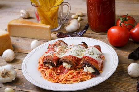 Eggplant Parmigiana With Spaghetti (Lunch) from Ameci Pizza & Pasta - Lake Forest in Lake Forest, CA