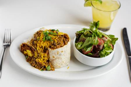 Chorizo Chili Bomb Burrito from Bassett Street Brunch Club in Madison, WI