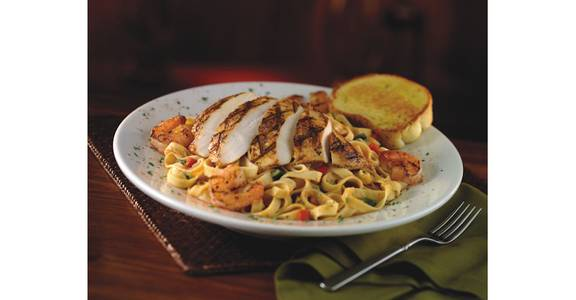 Cajun Chicken & Shrimp Pasta from Bennigan's on the Fly in Dubuque, IA